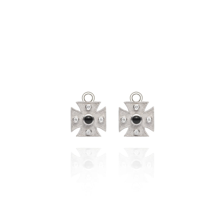Diamond Maltese Cross White Gold Earring Charms