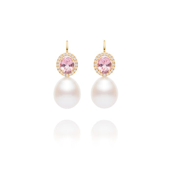 Pink Spinel Pearl Earrings