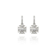 Signature White Maltese Cross Charm Earrings