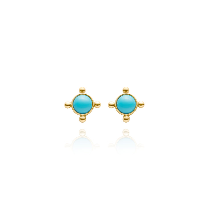 Yellow Gold Bead and Turquoise Studs