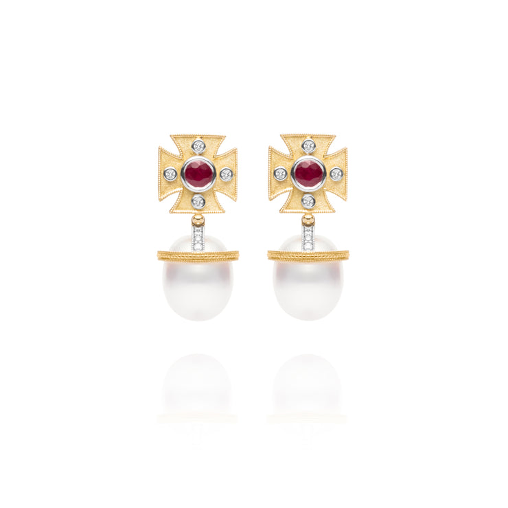 Signature Maltese Cross Ruby Earrings