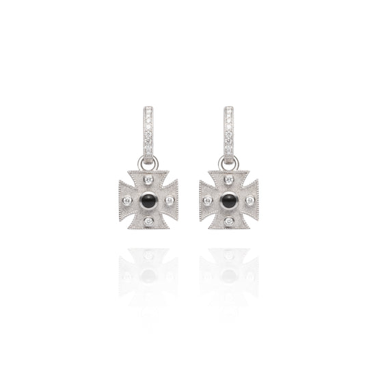 Signature Onyx Maltese Cross Charm Earrings