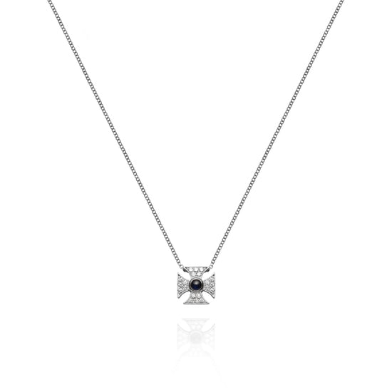 Signature Sapphire Maltese Cross Necklace