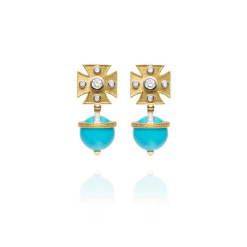 Signature Turquoise Maltese Cross Earrings