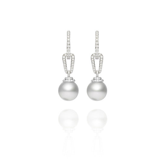 Signature South Sea and Diamond Link Earrings
