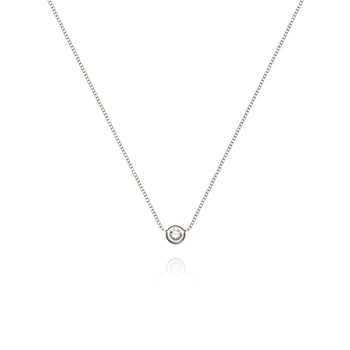 White Solitaire Diamond Necklace
