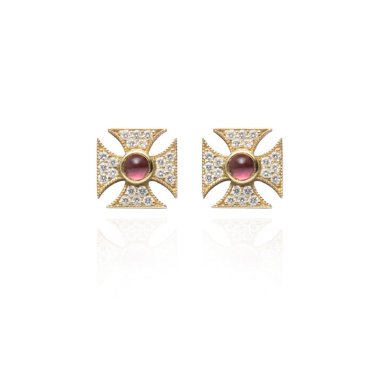 Signature Tourmaline Maltese Cross Studs