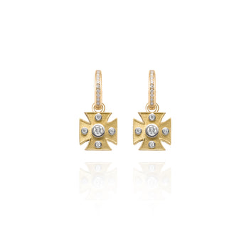 Signature Yellow Maltese Cross Charm Earrings