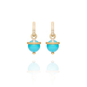 Yellow Gold Turquoise Orb Earring Charms