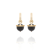 Yellow Gold Black Onyx Orb Earring Charms
