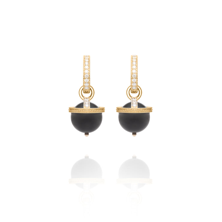 Signature Onyx Yellow Gold Orb Charm Earrings