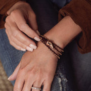 Special Edition Women's Faru Leather & Rose Gold Wrap Bracelet