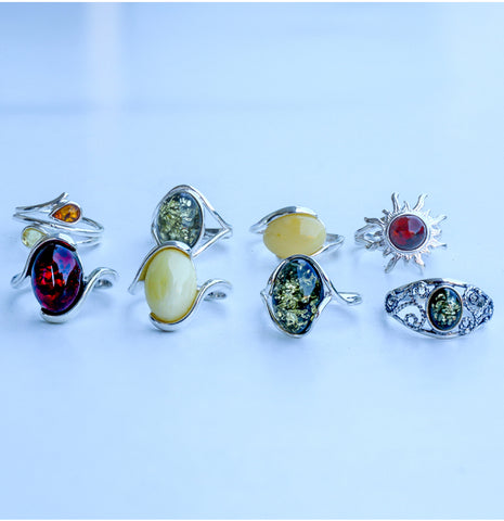 Amber rings 925 silver