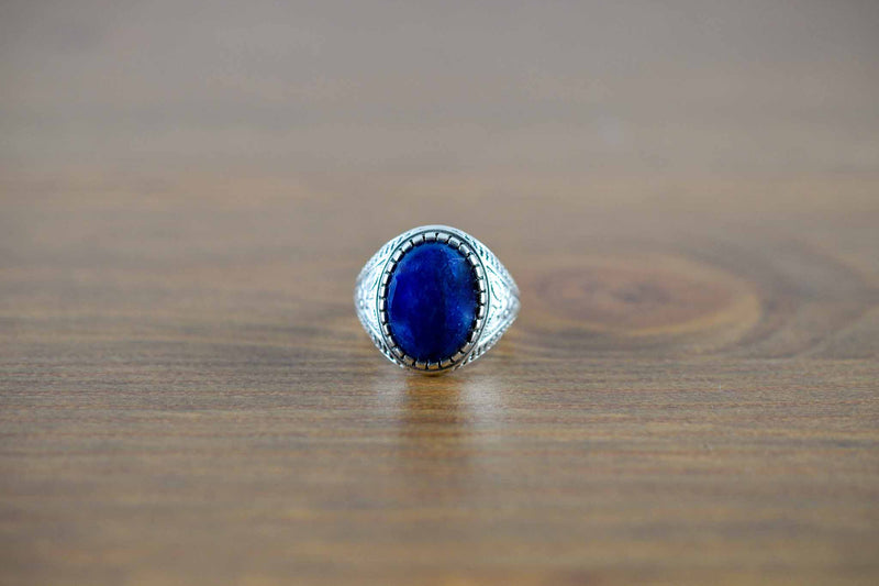 925 Silver Decorated Sapphire Ring