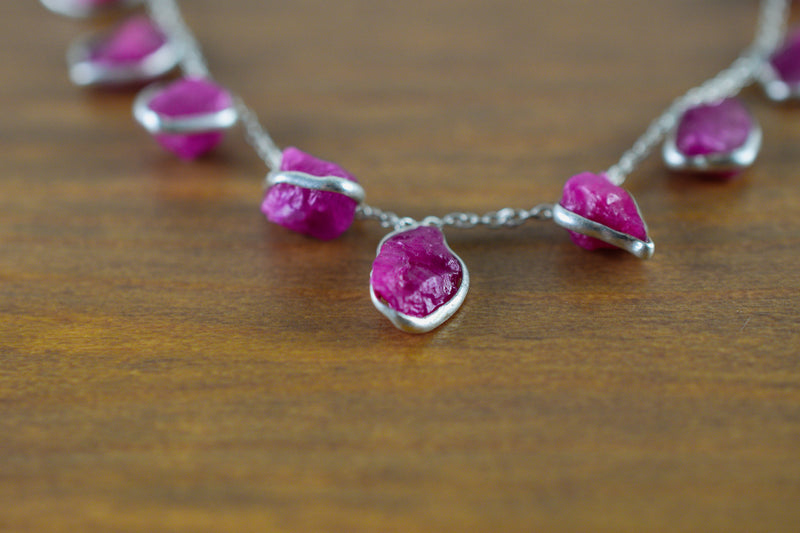 925 Gold-Plated Adjustable Silver Ruby Necklace