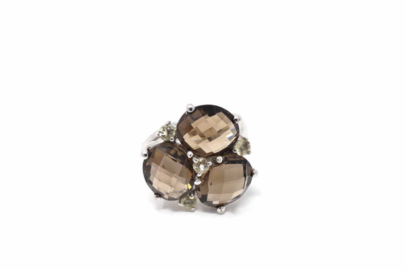 925 Silver Three Smoky Quartz and Zirconia Flower Ring