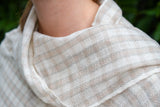 Cream Checkered Cashmere Shawl