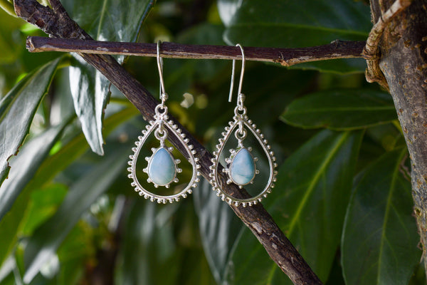 925 Silver Larimar Decorated Dangling Earrings