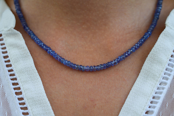 925 Silver Faceted Tanzanite Necklace