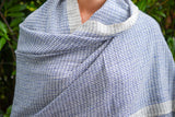 Blue and White Checkered Cashmere Shawl