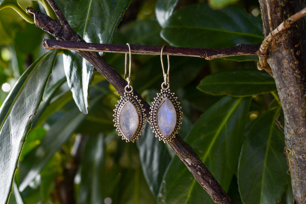 925 Silver Rainbow Moonstone (White Labradorite) Diamond-Shaped Earrings