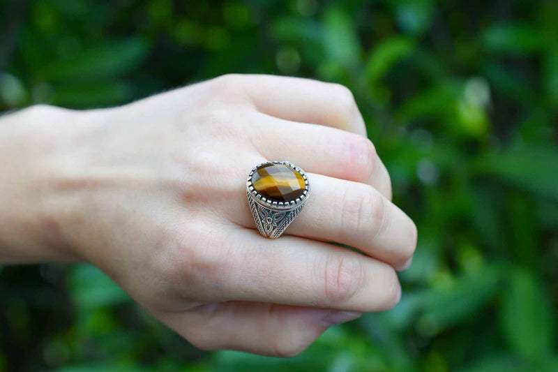 925 Silver Tiger's Eye Medium Decorated Ring