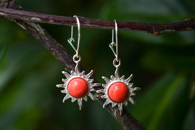 925 Silver Reconstituted Coral Large Sun-Shaped Earrings
