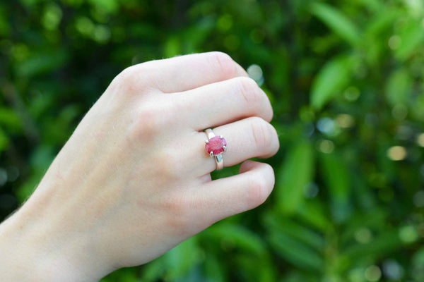 925 Silver Ruby Claw Ring
