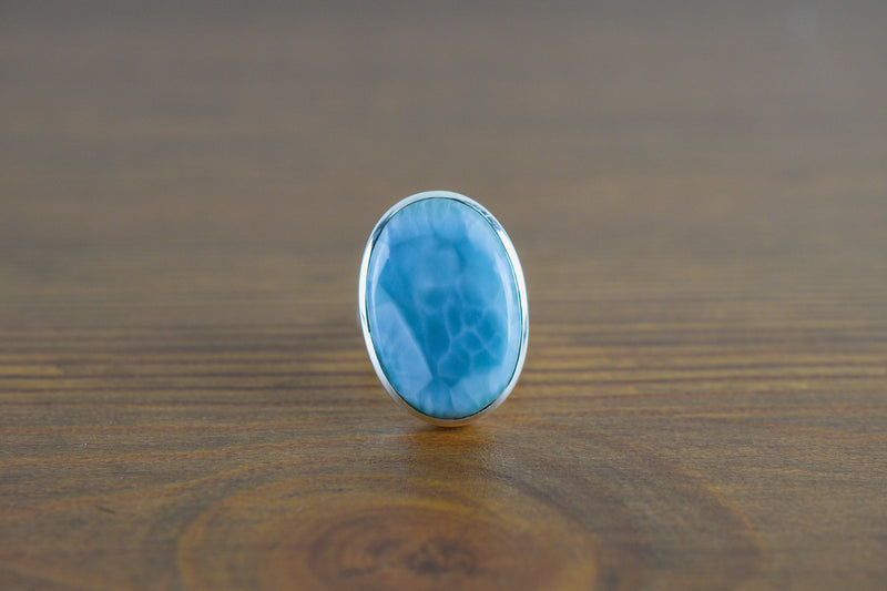 925 Silver Oval Large Larimar Ring
