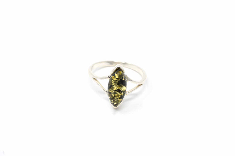 925 Silver Small Diamond-Shaped Green Amber Ring