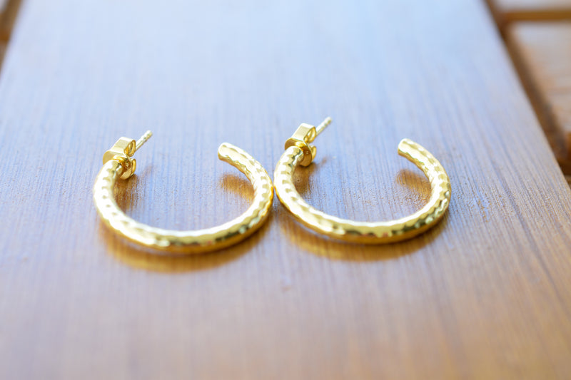 925 Silver Gold-Plated Creole Earrings