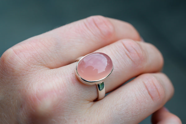 925 Silver Oval Pink Agate Ring