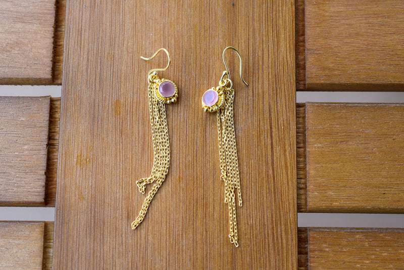 925 Gold-Plated Pink Agate Dangling Chain Earrings