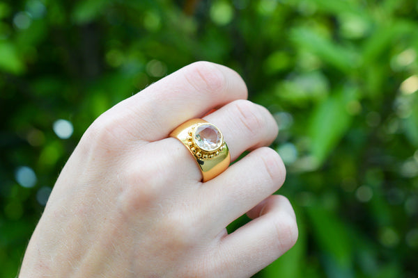 925 Silver Gold-Plated Decorated Rock Crystal Ring
