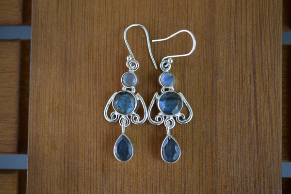 925 Silver Dangling Labradorite Drop and Circle Earrings