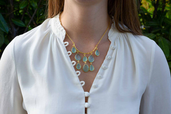 925 Silver Gold-Plated Drop-Shaped Aqua Agate Necklace