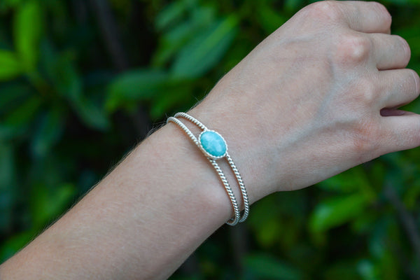 925 Silver Double-Stranded Intertwined Amazonite Bracelet