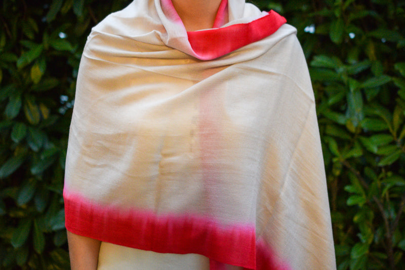 Light Brown and Red Cashmere Shawl