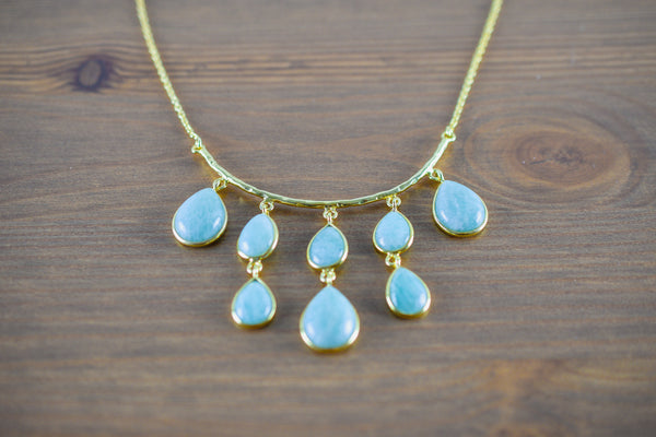 Photo of 925 Silver Gold-Plated Amazonite Necklace