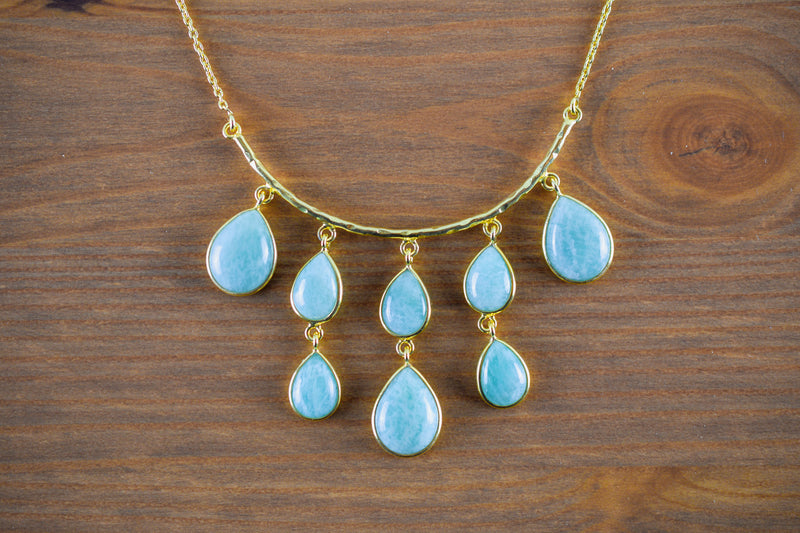 925 Silver Gold-Plated Amazonite Drop-Shaped Necklace
