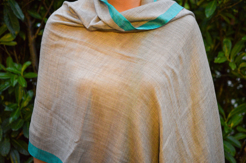 Light Brown and Turquoise Cashmere Shawl