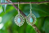 925 Silver Drop-Shaped Turquoise Decorated Earrings