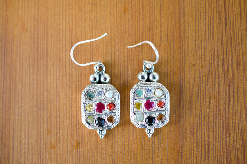 Rectangular Navaratna Earrings