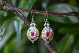 Oval Navaratna Earrings