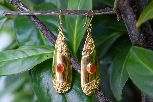 925 Silver Gold-plated Carnelian (Red Agate) Decorated Dangling Earrings