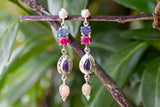 925 Silver Dangling Opal, Amethyst, Ruby and Pearl Earrings