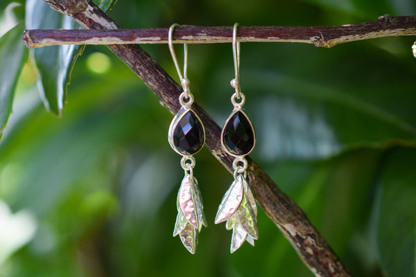 925 Silver Black Onyx Feather Earrings