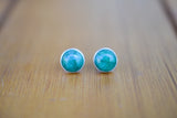 925 Silver Medium Circular Stud Emerald Earrings