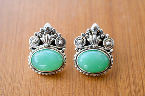 925 Silver Green Onyx Mughal-Style Heavy Earrings