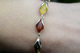 925 Silver Intertwined Multicoloured Amber Bracelet